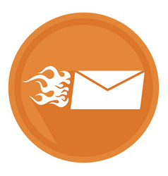 fast delivery letter in the form of a burning vector image