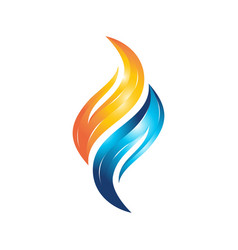 flame water 3d logo vector image
