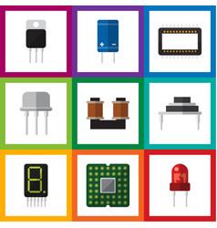 Flat electronics set of recipient mainframe vector
