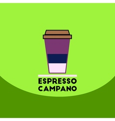 Flat icon design collection espresso campano to go vector