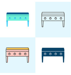 Flat top grill icon set in flat and line styles vector