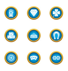 Gambling establishment icons set flat style vector