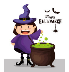 girl dressed up as a witch on halloween vector image
