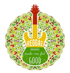 Guitar on ornate mandala background vector