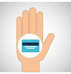 hand concept save credit card money vector image