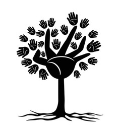Hands tree vector image