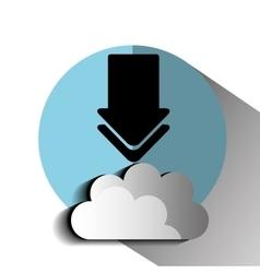 Interner download round icon vector