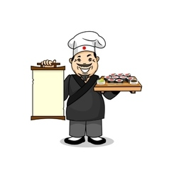 Japanese cook with menu and sushi vector
