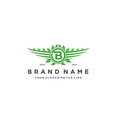 Letter b leaf wing logo design concept vector