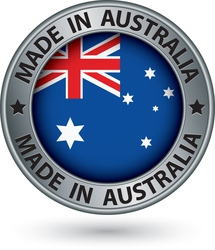 Made in Australia silver label with flag vector