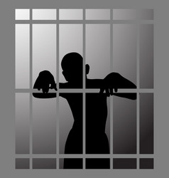 man in prison or dark dungeon behind bars vector image