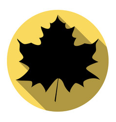 maple leaf sign flat black icon with flat vector image