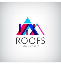 Modern colorful roofs logo houses vector