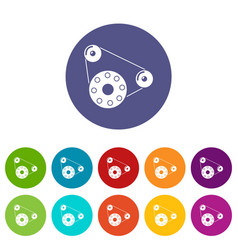 Motor icons set color vector