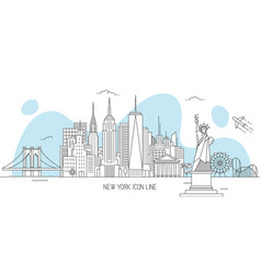 new york skyline line art style vector image