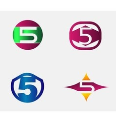 Number five logo template Abstract icon vector