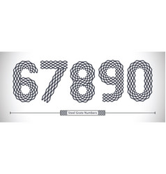 numbers steel grate style in a set 67890 vector image