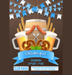 oktoberfest party poster invite template vector image