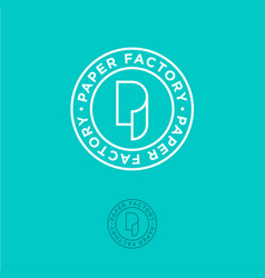 p monogram roll paper factory logo vector image