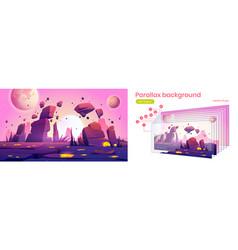 Parallax background with alien planet landscape vector