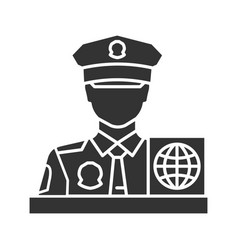 passport control officer glyph icon vector image