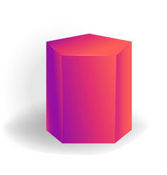 Pentagonal prism - one 3d geometric shape with vector