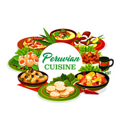 Peruvian food icon meat fish and veggie dishes vector