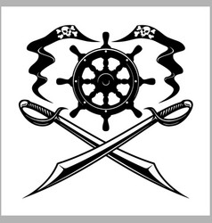 pirates emblem - steering wheel and crossed swords vector image