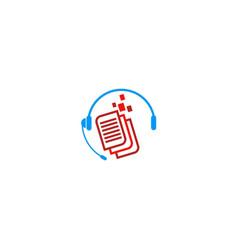 play list music data logo vector image