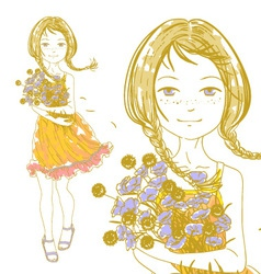 Pretty girl bouquet vector