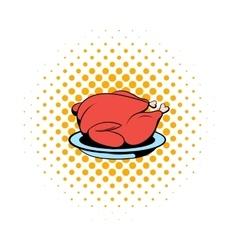 Roast turkey icon comics style vector
