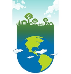 Save the world theme with earth and house vector image