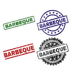 Scratched textured barbeque seal stamps vector