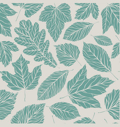 seamless background decorative leaves pattern vector image