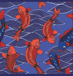 seamless pattern with koi carps and waves on a vector image