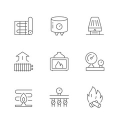 Set line icons heating vector