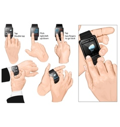 Set of multi-touch gestures for smart-watch vector