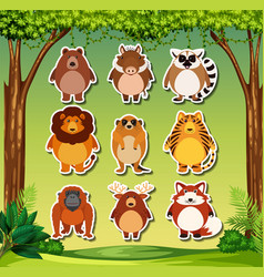 set of wils animal sticker vector image