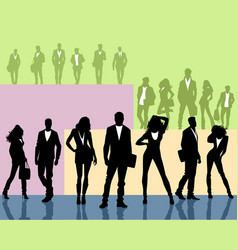 silhouettes of young people groups vector image