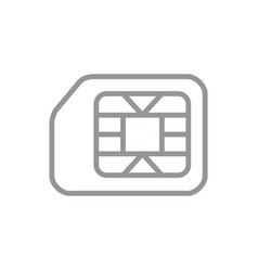 Sim card line icon phone chip mobile slot symbol vector