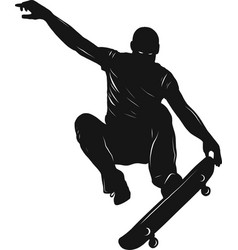 skateboarder doing a jumping trick low poly vector image
