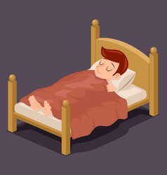 Sleep man bed rest night blanket pillow cartoon vector