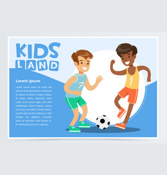 Smiling active boy playing soccer kids land vector