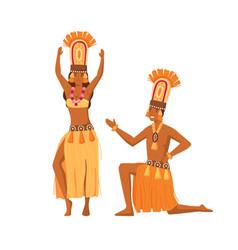 Smiling cartoon aboriginal man and woman dancing vector
