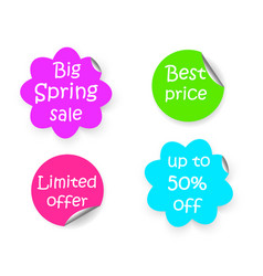 spring sale discount flower shape and circle vector image
