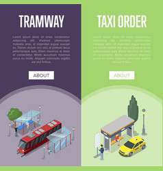 Taxi and tramway station isometric 3d posters vector