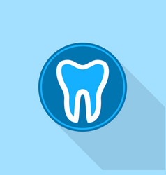 tooth in round circle logo icon flat style vector image