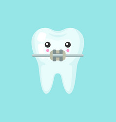 Tooth with a brace with emotional face cute vector