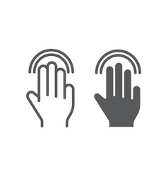 triple double tap line and glyph icon gesture and vector image