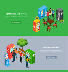 vending machines banners set vector image